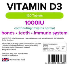 Vitamin D3 1000 IU Tablets (120 pack) - Authentic Vitamins