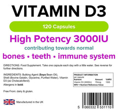 Vitamin D3 3000 IU Capsules (120 pack) - Authentic Vitamins