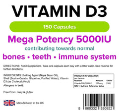 Vitamin D3 5000 IU Capsules (150 pack) - Authentic Vitamins