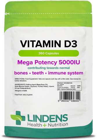 Vitamin D3 5000IU High Strength 360 Soft Gel Capsules, Immune Health - Authentic Vitamins