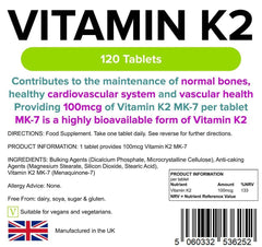 Vitamin K2 100mcg 120 Tablets - Authentic Vitamins