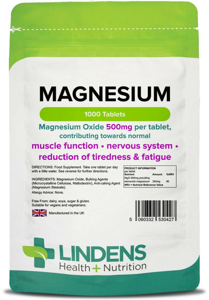 Magnesium Tablets (MgO 500mg) (1000 pack)