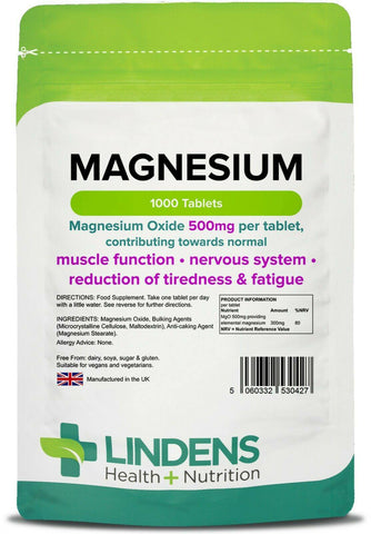 Magnesium Tablets (MgO 500mg) (1000 pack) - Authentic Vitamins