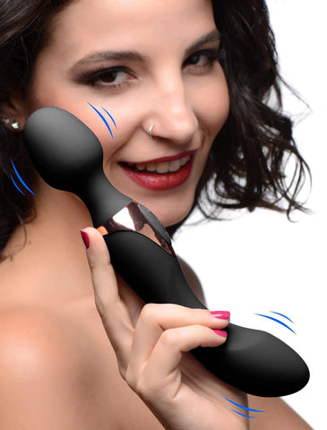 10X Dual Duchess 2-in-1 Silicone Massager - Black