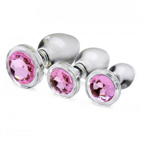Pink Gem Glass Anal Plug Set
