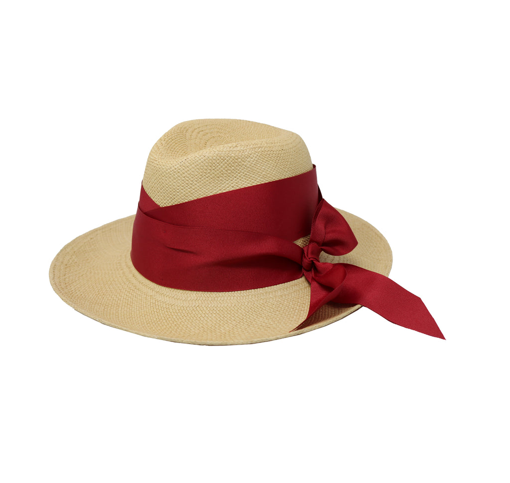Panama hat double twist with bow band