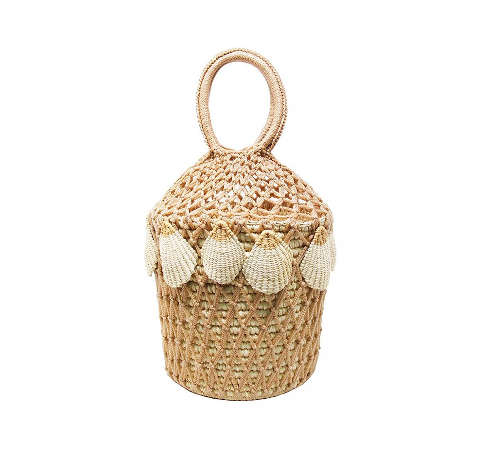 Jenny Lopez Straw Netted Bucket with Seashells