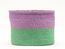 Load image into Gallery viewer, Asubuhi green & purple colour block basket