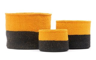 NYUKI: Black & Yellow Duo Colour Block Woven Basket