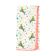 Load image into Gallery viewer, SQUARE COTTON FABRIC NAPKIN - CREAM - BUDGIE PRINT - SET OF 2