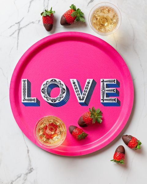 Love / Bright pink tray