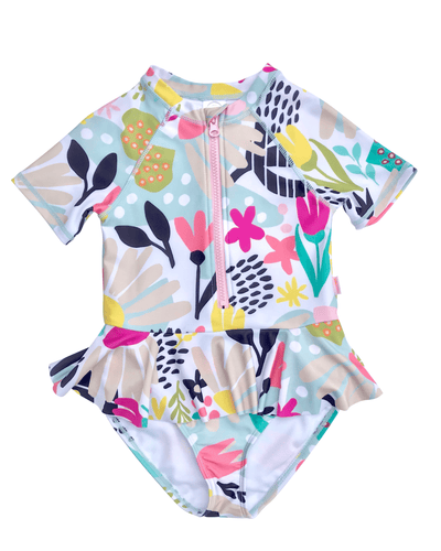 Peplum Ruffle Rash Guard One Piece