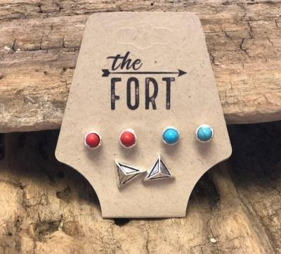 Set of 3 Stud Earrings - The Fort - TX