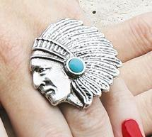 Indian Chief Turquoise Ring and Scarf Slide - The Fort - TX