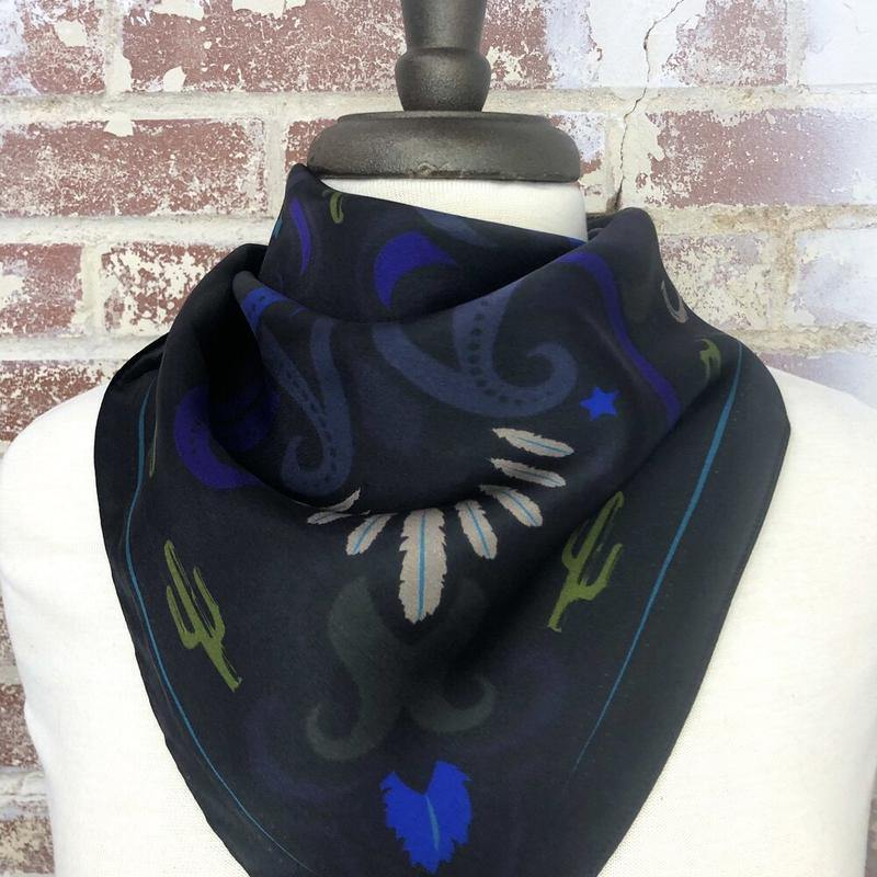 Sonoran Feather and Cactus Silk Scarf - Black - The Fort - TX
