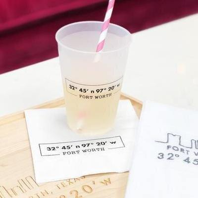 Fort Worth Coordinates Cocktail Napkins - 3Ply - The Fort - TX