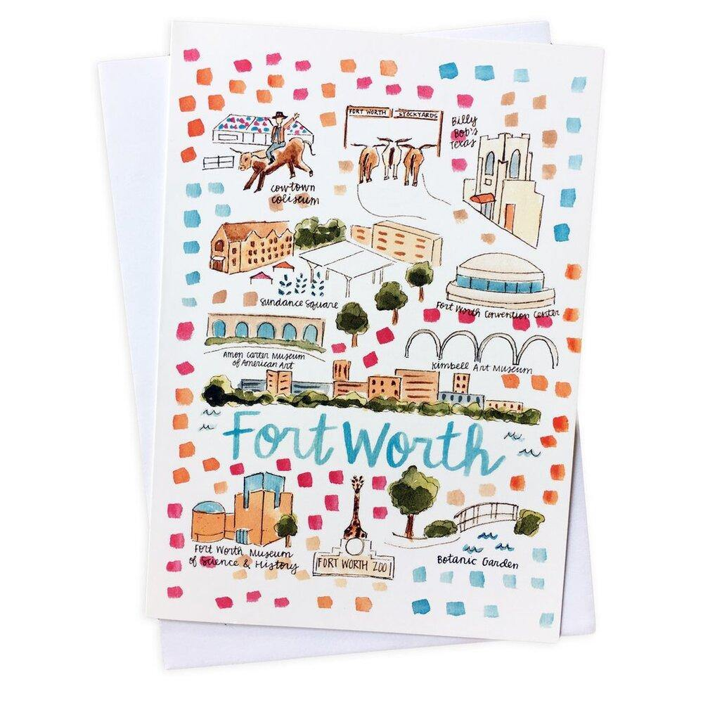 Fort Worth Map Greeting Card - The Fort - TX