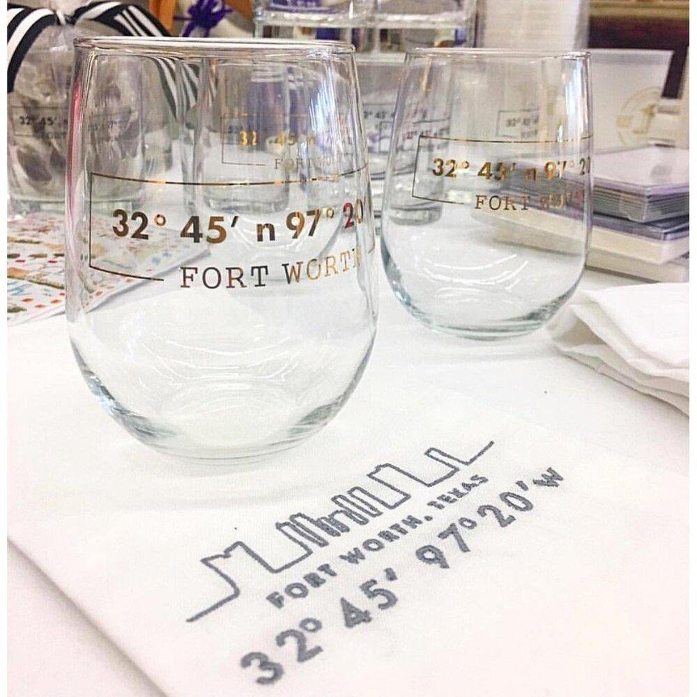 Fort Worth Coordinates Stemless Wine Glass - The Fort - TX