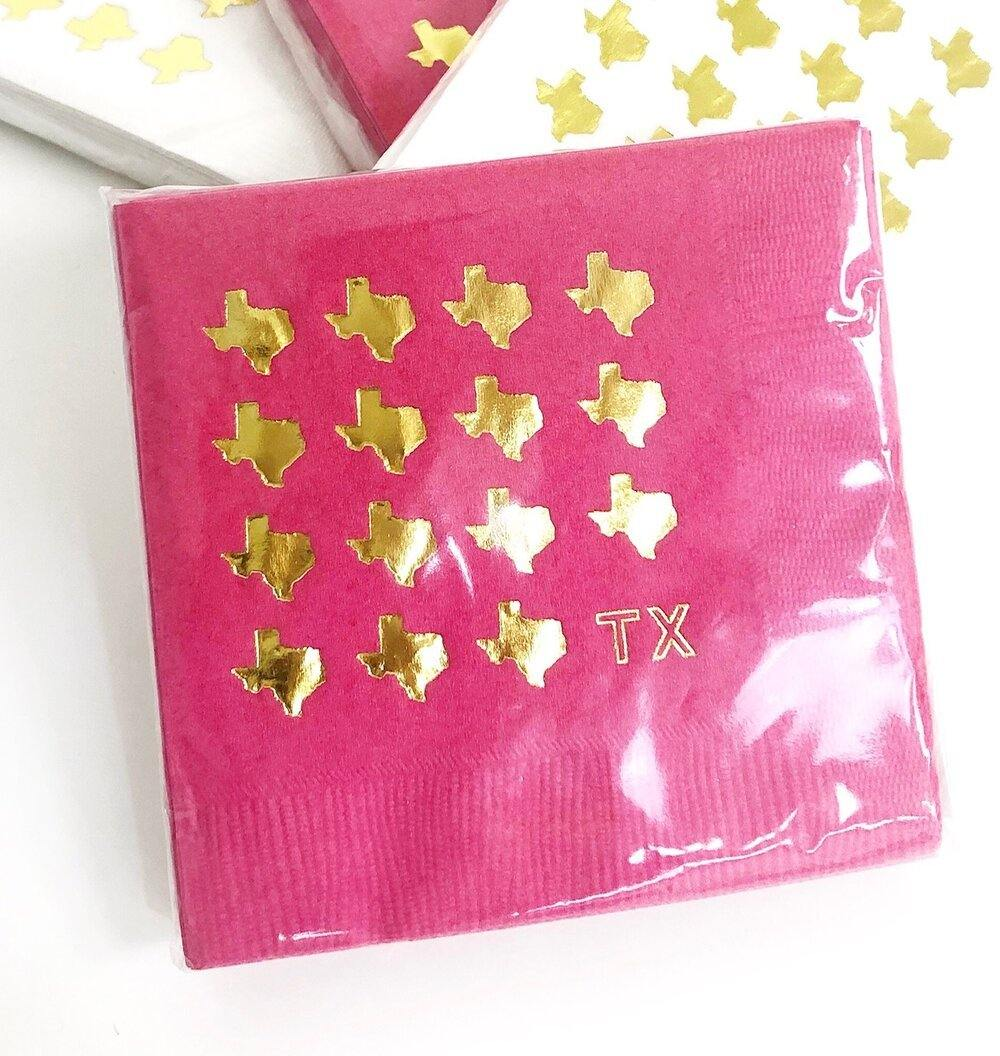 Gold Texas Cocktail Napkins - Pink - The Fort - TX