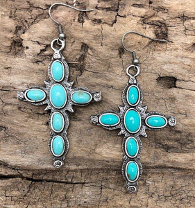 Turquoise Inlay Cross Earrings - The Fort - TX