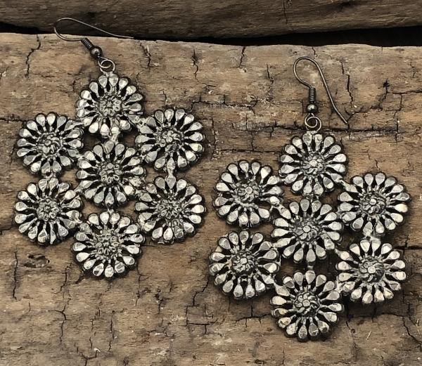 Charcoal Floral Earrings - The Fort - TX