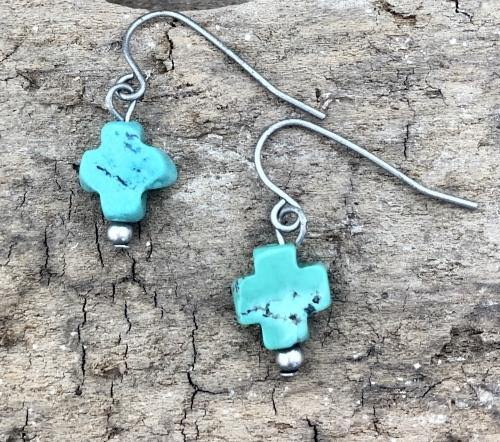 Hand Cut Natural Turquoise Cross Earrings - The Fort - TX