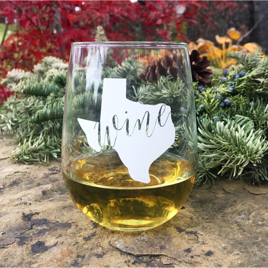 Texas Stemless Wine Glass - The Fort - TX