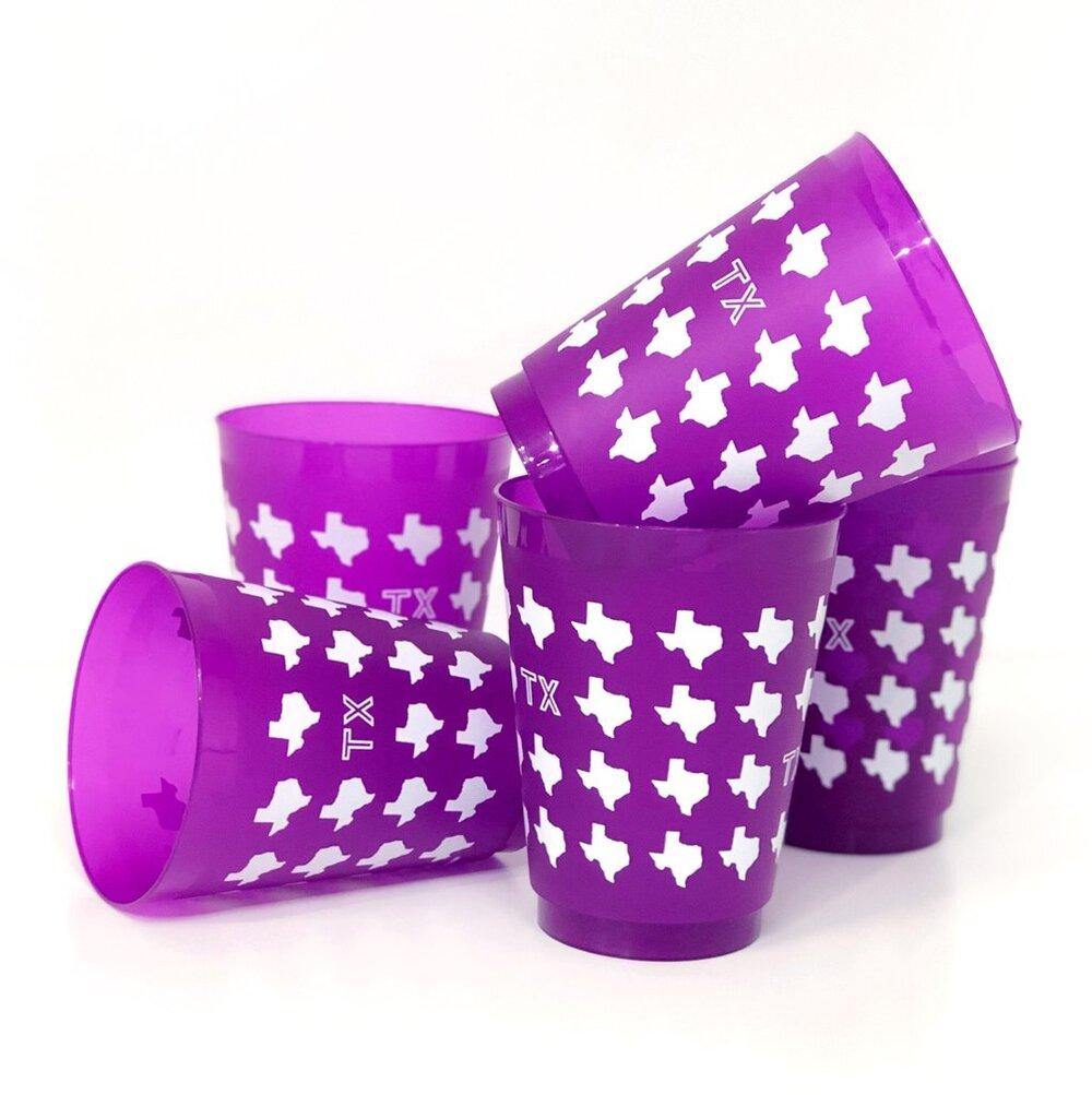 Purple Texas Shatterproof Cups 16 oz - The Fort - TX