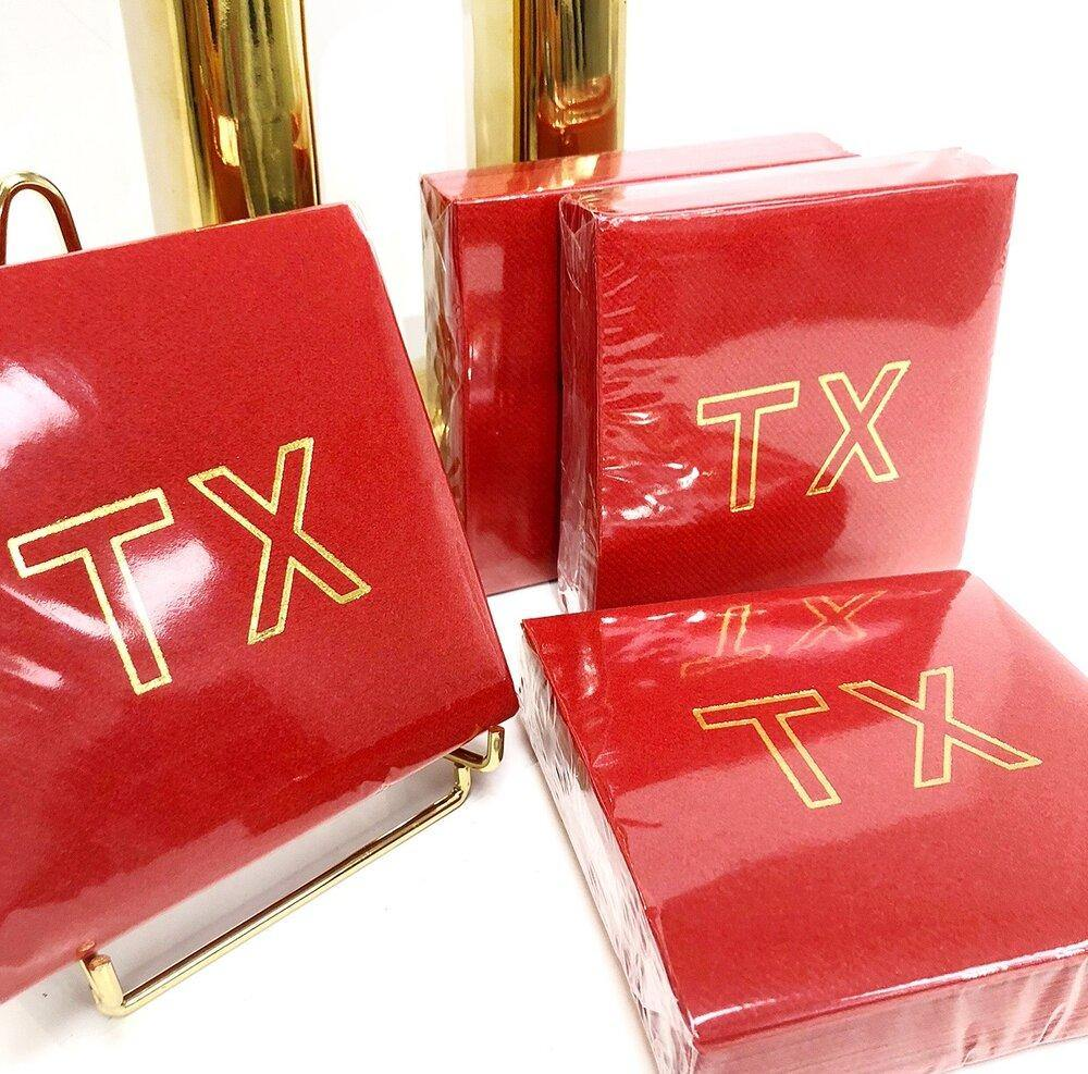 TX Cocktail Napkins - Red - The Fort - TX