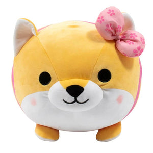 Shiba Mochi Plush with pink bow and rosy cheeks