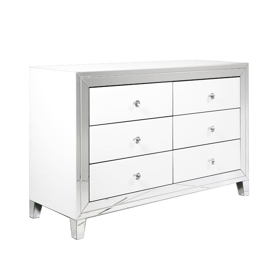 PB-11 White Mirror 6 Drawer Dresser