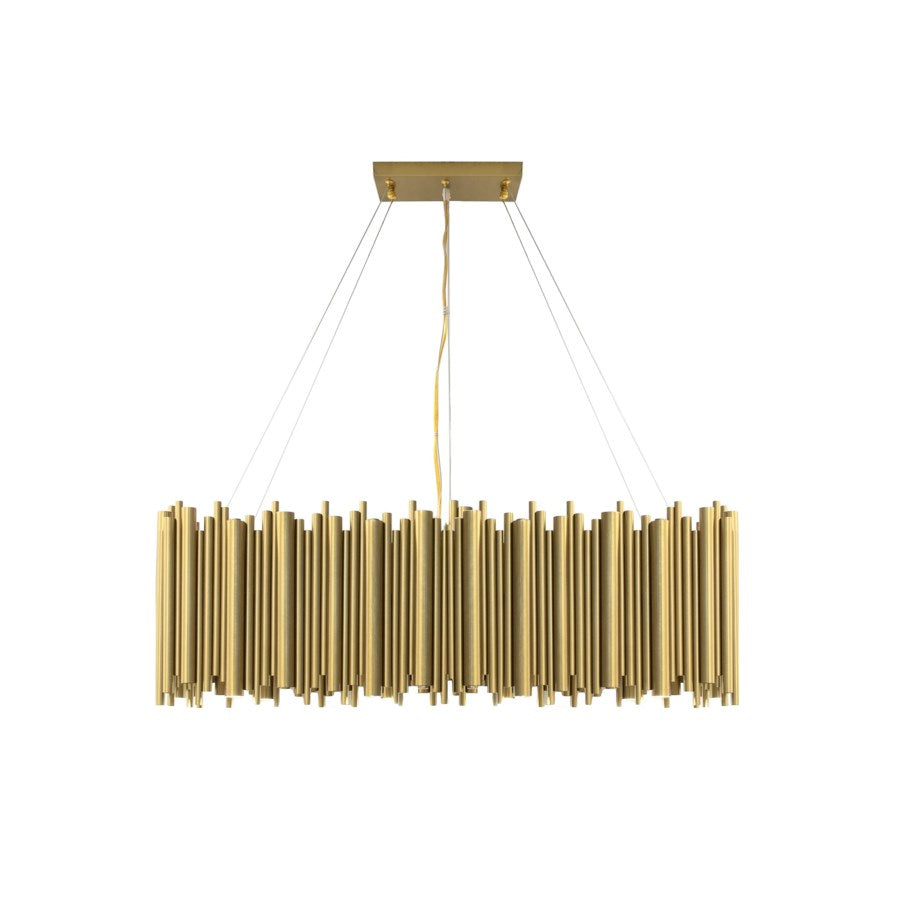 PB-11ROM Matte Gold Rectangular Chandelier