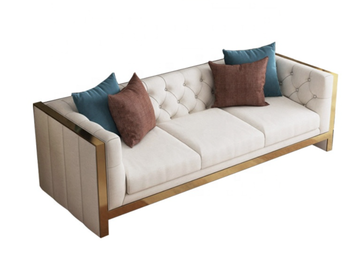 Ivory and Gold 3 Seater Gilded Sofa