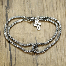 Charger l'image dans la galerie, Flash sale🔥Men's double rollo chain and cross charm bracelet