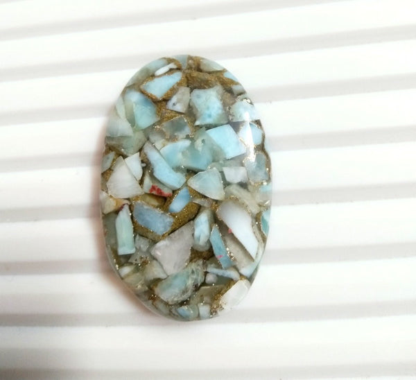 NATURAL LARIMAR Gemstone 20 Ct Top AAA Quality Copper Larimar Cabochon Gemstone Rectangle Larimar 26X18X5MM