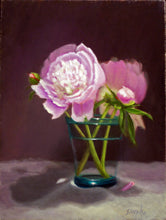 Load image into Gallery viewer, Peonies in Green Glass