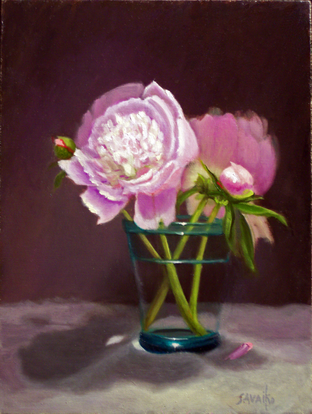 Peonies in Green Glass