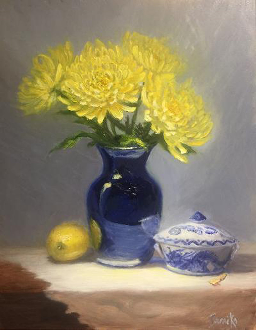 Original Oil Painting - Yellow Mums and Ginger Jar