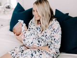 Dusty Pink + Navy Baby Gown or Swaddle, Matching Mommy Robe | Mom and Baby Matching Set | Hospital Mommy and Me Outfit | Mom and Baby Maternity