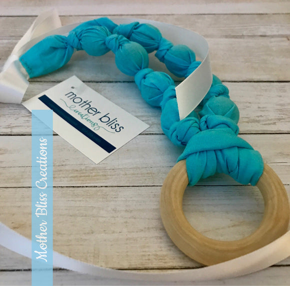 Bright and Blue Nursing Necklace | Breastfeeding | Organic Wood | Fabric Neckwear | Baby Shower | Nursing