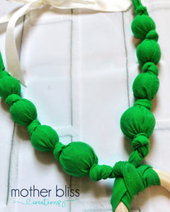 Grassy Green Nursing Necklace | Breastfeeding | Organic Wood  | Fabric Neckwear | Baby Shower | Nursing