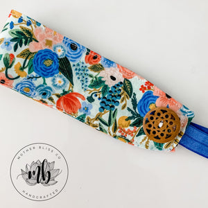 Rifle Paper Co Petite Garden Blue Headband With Mask Holder and Elastic | Ear Saver | Face Mask Holder | Nurse Headband With Button For Mask