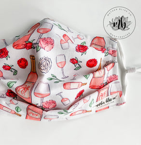 Wine Rose Bubbly Mask | Handmade Fabric Mask with Pocket for Filter - Adjustable Elastic - Washable Reusable - Wine Lover Mask - Rosé Mask