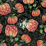 IN STOCK! Fabric Tumbler Cut Size 9x14 - Watercolor Pumpkin Fall Fabric - 3 Colors Available - Great For Mask Making