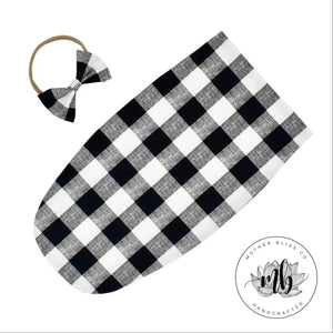 Buffalo Checker Plaid Fall Baby Swaddle Sack Set | Newborn Photo Prop Cocoon | Newborn Swaddle Set with Headband | Ready to Ship Cocoon Sack