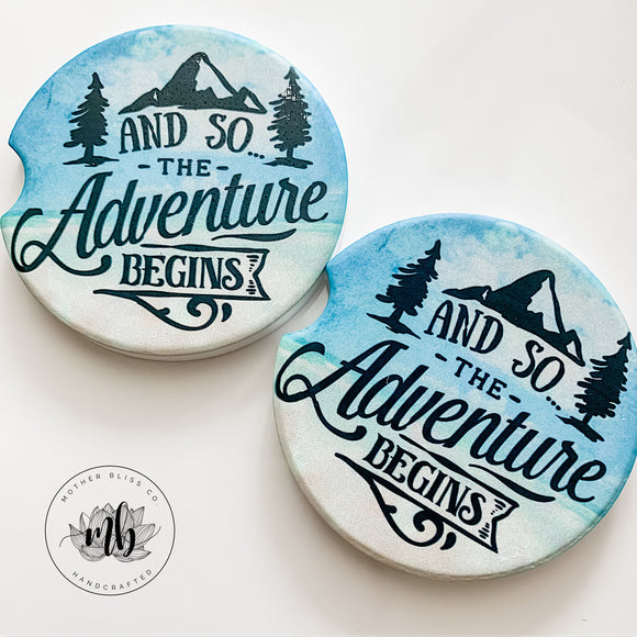 The Adventure Begins Car Coasters Pair | Set of 2 Car Coasters | Family Adventures Gift