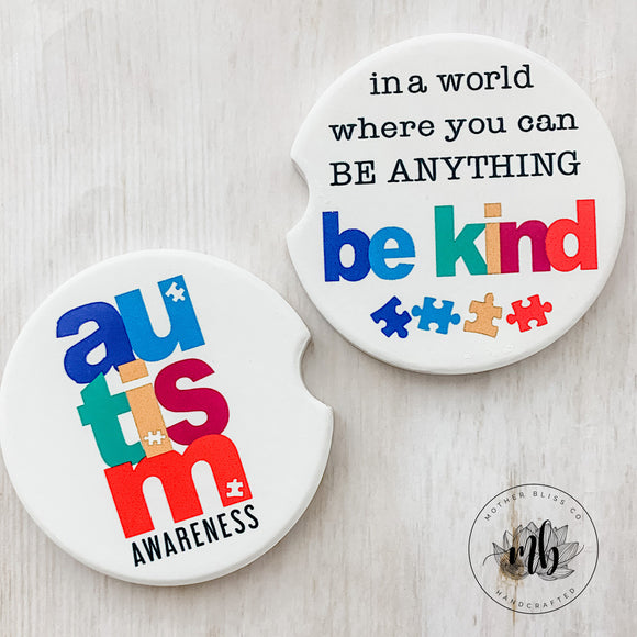 Autism Awareness Car Coasters Pair | Set of 2 Car Coasters | Be Kind Car Coasters
