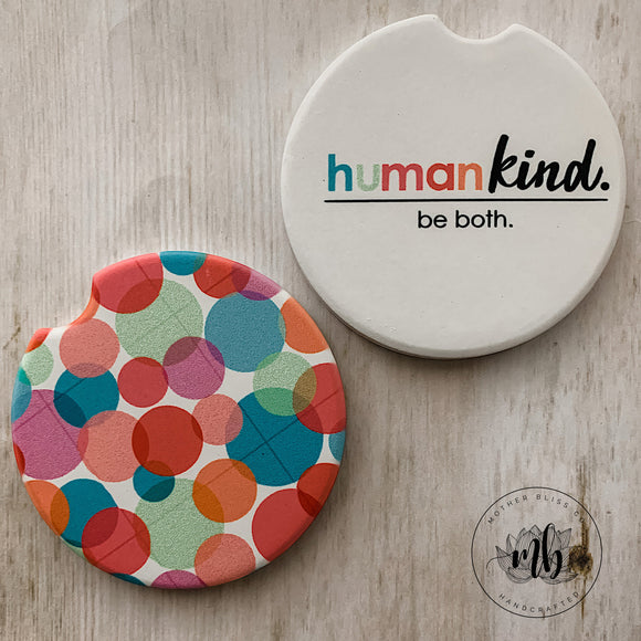 Human Kind Be Both Car Coasters Pair | Set of 2 Car Coasters | Kind | Be Kind Car Coasters