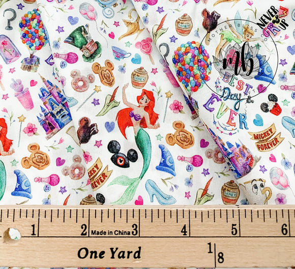 IN STOCK! Park Hopping Never Grow Up Watercolor Fabric - Best Day Ever Mickey Disney Castle Fabric - Great for Mask Making - Custom Fabric