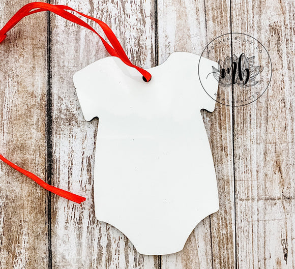 Baby Bodysuit Shaped Ornament Blank for Sublimation - Double Sided MDF - Christmas Tree Ornament Blank